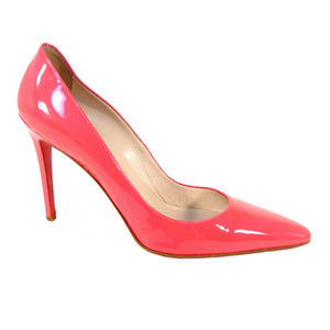 LOUBOUTIN Pink Patent Leather High Heel Pumps